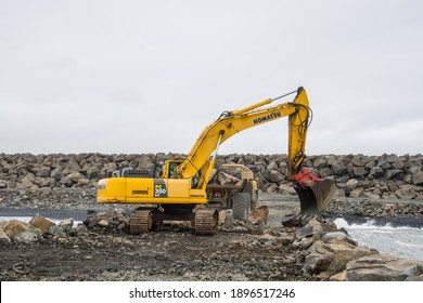 Hofn i Hornafirdi Iceland - July 15. 2020: entrepreneur machines working on a new sea protection barrier