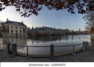 Hofvijver, Binnenhof, Dutch parliament reflected on the pond in a freezing autumn season, Netherlands