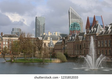 Hofvijver with Binnenhof and the Mauritshuis at Spring (The Hague, Netherlands)
