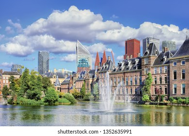 Hofvijver lake with a view on the Binnenhof, seat of Dutch government.