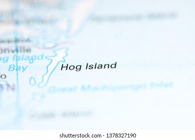 Hog Island. Virginia. USA on a geography map