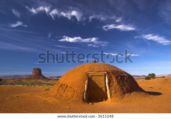 Hogan - the traditional Navajo red clay earth house