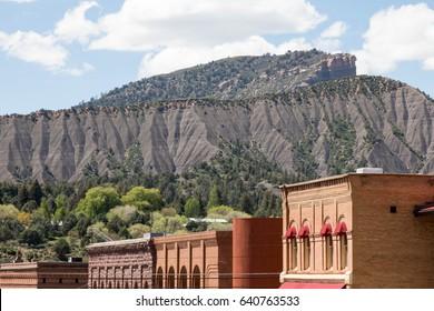 Hogsback mountain and Perin's peak over downtown Durango, Colorado