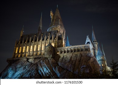 The Hogwarts School of Witchcraft and Wizardry at Night