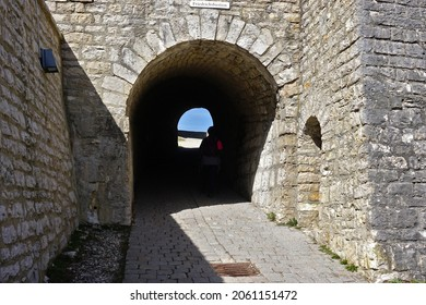 Hohenneuffen castle ruins, passage into the castle courtyard, Swabian Alb,