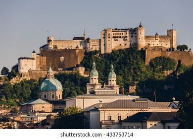 Hohensalzburg Castle located atop of Festungsberg in Salzburg, Austria