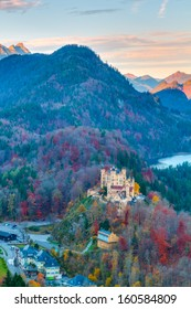 Hohenschwangau in Autumn, Castle for the Kings of Bavaria near Munich, Germany. Picture was taken in Fall October