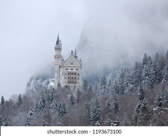 Hohenschwangau, Bavaria, Germany. January, 01. 2011. Neuschwanstein Castle in the fog. The palace was built in honour of Richard Wagner, by king Ludwig II of Bavaria.