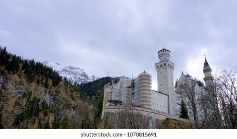 Hohenschwangau, Bavaria / Germany - March 2018: Neuschwanstein Castle, or New Swanstone Castle, historic home of Ludwig II of Bavaria.