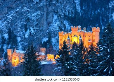 Hohenschwangau castle in the Bavarian Alps, Germany
