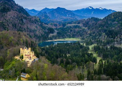 Hohenschwangau castle, view from Neuschwanstein castle, the famous viewpoint in Fussen, Germany