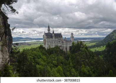 Hohenschwangau,  Germany- May 24, 2015: View of Neuschwanstein Castle in Bavaria, near Munich, on a stormy day.