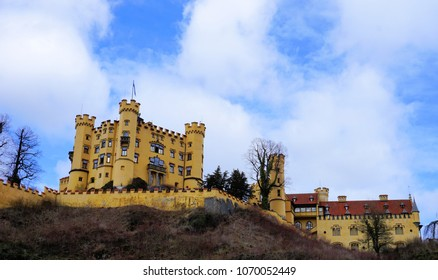 Hohenschwangau, Ostallgau, Bavaria / Germany - March 2018: Exterior view of historic Hohenschwangau Castle, childhood home of King Ludwig II of Bavaria.
