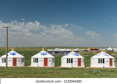 Hohhot, Inner Mongolia Province / China - July 30th 2016: Rows of yurt tents in Inner Mongolia Province of China, near province capital of Hohhot.