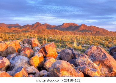 Hohokam Petroglyphs, on Signal Hill in Saguaro National Park, at sunset.