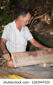 Hoi An, Quang Nam, Vietnam - 12/5/2018: Sedge grass is the main material in mat weaving; Villagers weaving a mat.