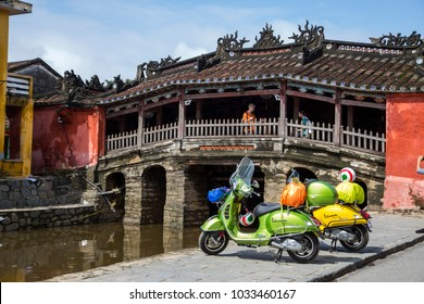 Hoi An, Viet Nam - Nov 9, 2017: Vespa GTS motorbike (model 125cc & 300cc) is on road trip from Danang to Saigon, Vietnam.