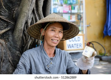 Hoi An, Vietnam - 19 October 2016: Vietnamese market trader, Hoi An old town