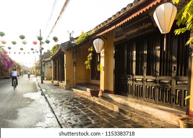 HOI AN, VIETNAM, 22 MAY, 2018: Beautiful early morning at street in Hoi An ancient town. Hoi An old town is UNESCO world heritage, one of the most popular destinations.