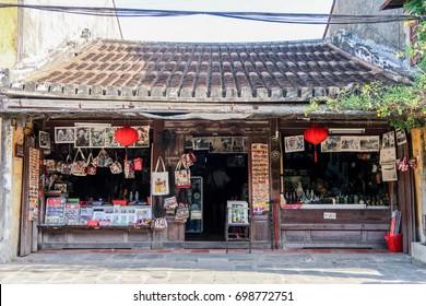 HOI AN, VIETNAM August 12,2017 - charming vintage building Tourist's souvenir shop at the ancient town Unesco world heritage