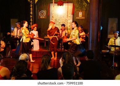 HOI AN, VIETNAM - FEB 3, 2015 - Musicians play ancient Chinese stringed instruments,  Hoi An, Vietnam