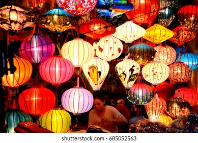 Hoi An, Vietnam -  July 22th, 2017: Brilliant laterns with many colors in old town, Hoi An, Vietnam.