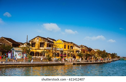 HOI AN, VIETNAM - MARCH 15, 2017: Ancient street view on a nice day