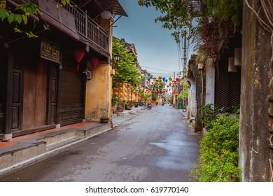 HOI AN, VIETNAM - MARCH 19, 2017: Morning in Hoi An ancient town