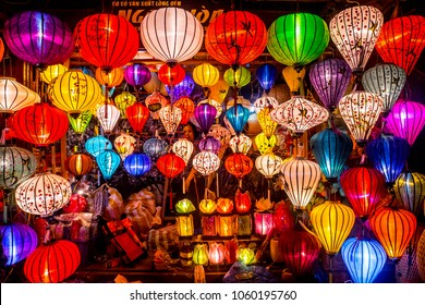 Hoi An, Vietnam - March 28,2018. Colorful lanterns spread light on the old street of Hoi An Ancient Town - UNESCO World Heritage Site. Vietnam.