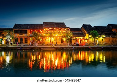 HOI AN, VIETNAM - MAY 08, 2017: The old streets of Hoi An City in the evening. VIETNAM.