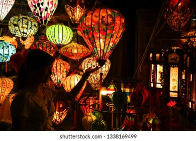 hoi An, Vietnam - May 20, 2016: Beautiful and colorful lanterns sold at the shops at Hoi An. The historic old town of Hoi An is UNESCO Heritage Site since 1999.