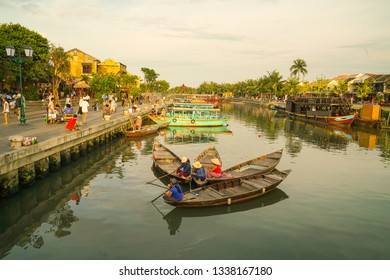 Hoi An, Vietnam - May 21, 2016:  Landscape of old buildings with the river in Hoi An. Vietnam. The historic old town of Hoi An is UNESCO Heritage Site since 1999.