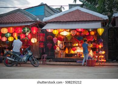 Hoi An, Vietnam-October 20, 2009. Exterior of a small shop selling lanterns in Hoi An, Vietnam