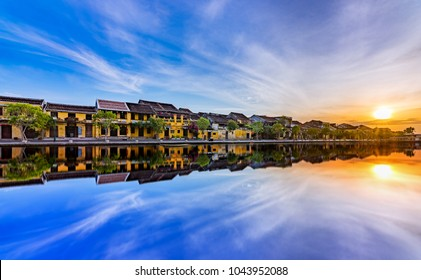 Hoi An Ancient Town, Vietnam, September 4rd , 2017 :Amazing sunrise in Hoi An Ancient Town (Hoian), Vietnam.Famous Old Town for Travel in Vietnam,UNESCO World Heritage.