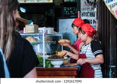 Hoi An/Vietnam, 7th Jan 2019 : Most famoue Vietnamese style baguettes shop in Hoi An Ancient Town, Bánh Mì Phượng