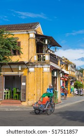 HOI AN-VIETNAM-NOV 7 ,2106 ; Tricycle of Hoi An ride around old town for carry tourist visit famoust house and market in Hoi An , Vietnam