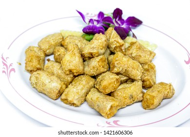 Hoi Jo or Deep Fried Crab Meat Rolls . Traditional  Chinese food for appetizer.