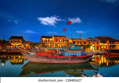 Hoi An old town in Vietnam after sunset