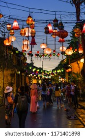 Hoi An Old Town, Vietnam on 17 June 2018: Hoi An Vietnam, Lantern Street night time view with beautiful sky color