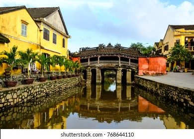 Hoi An Town - View of the Japanese Bridge in Hoi An. Vietnam, Unesco World Heritage Site. Hoi An is a popular tourist destination of Asia.