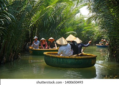 Hoi an Vietnam - 5 May 2019 : The The thung chai or Basket boat floated along any of its many waterways is traditional vietnam boat in Thu Bon River  Hoi An , Vietnam