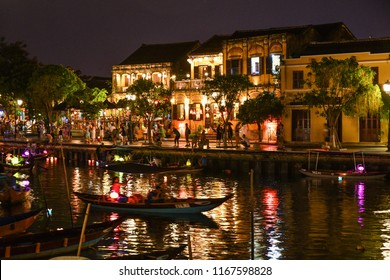 Hoi An Vietnam, Lantern Street night time view with beautiful sky color