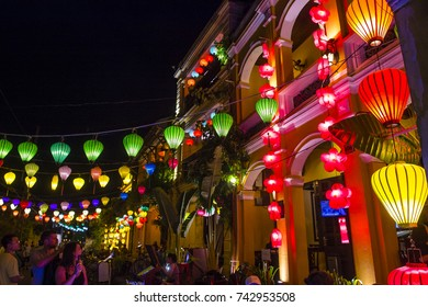 HOI AN , VIETNAM - OCT 04 : Paper lanterns lighted up on the streets of Hoi An ,Vietnam during the Hoi An Full Moon Lantern Festival on October 04 2017
