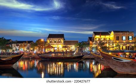 Hoi An Vietnam old town city at sunset