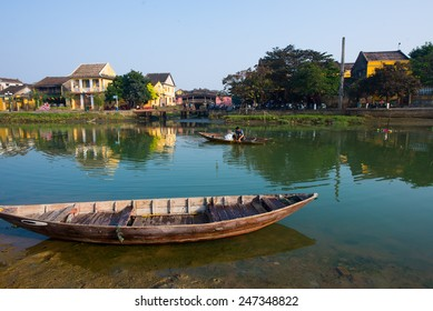 HOIAN, VIETNAM, JANUARY 26: Hoai river in ancient Hoian town on January 26, 2015 in Hoian, Vietnam. Hoian is recognized as a World Heritage Site by UNESCO.