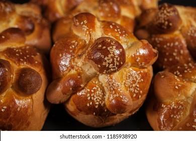 Hojaldras, Pan de muerto, Day of the dead Mexican Bread in Mexico