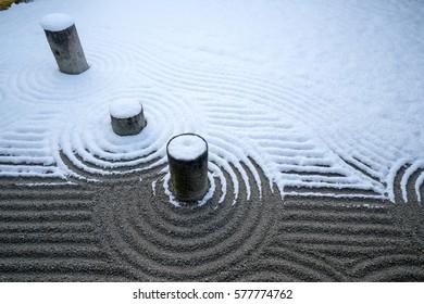 Hojo garden snow scene at Tofukuji temple,Kyoto,tourism of Japan