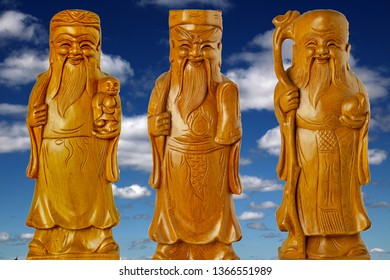 HOK LOK SIEW or FU LU SHOU three gods of china is famous god Because respect from chinese people. on sky background