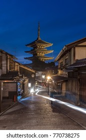 Hokan temple, part of Yasaka Shrine in Kyoto. Light trail night shot, blue hour