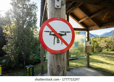 Hokitika, West Coast / New Zealand - June 26 2020: No Drone Sign at a popular tourist location